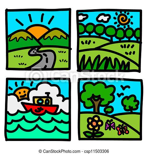 Nature Hand Drawing Nature View Hand Draw Cartoon