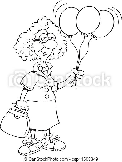 Stock illustrations senior citizen lady with a sign stock clipart - Eps Vector Of Senior Citizen Lady Holding Balloon Black