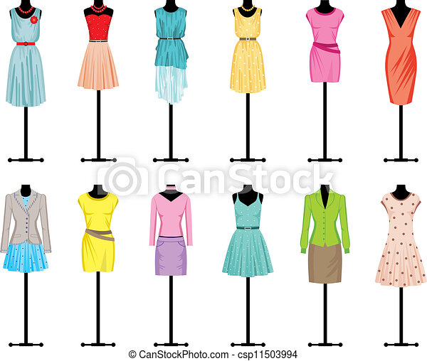 Vector - Mannequins with women's clothing - stock illustration