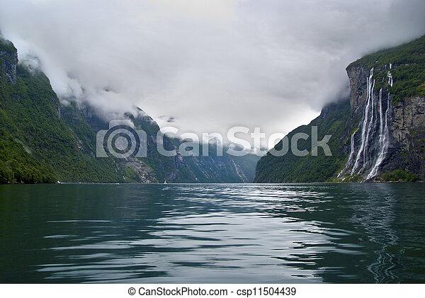 Seven sisters waterfall Norway - csp11504439