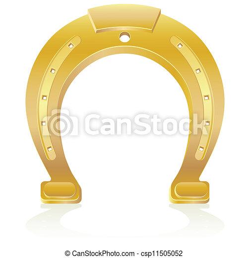 gold horseshoe talisman charm - csp11505052