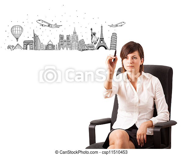 Young woman drawing famous cities and landmarks on whiteboard - csp11510453