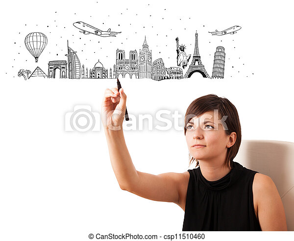 Young woman drawing famous cities and landmarks on whiteboard  - csp11510460