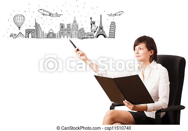 Young woman presenting famous cities and landmarks - csp11510740