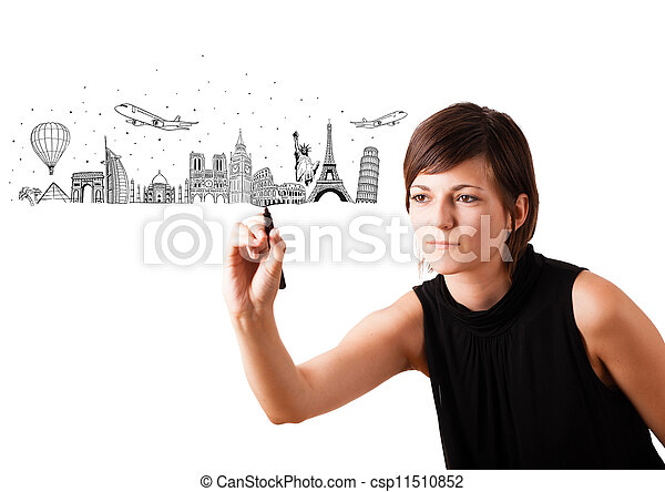 Young woman drawing famous cities and landmarks on whiteboard - csp11510852