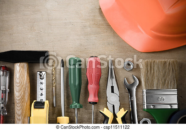 kit of construction tools on wood - csp11511122