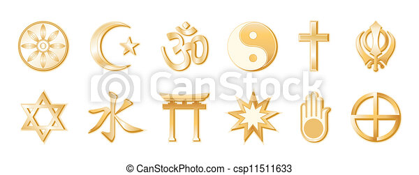 World Religions, White Background - csp11511633