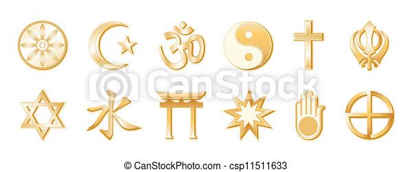 World Religions, White Background - csp11511633