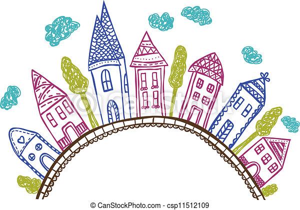 Clipart vettoriali di scarabocchiare collina for Disegni di case di tronchi