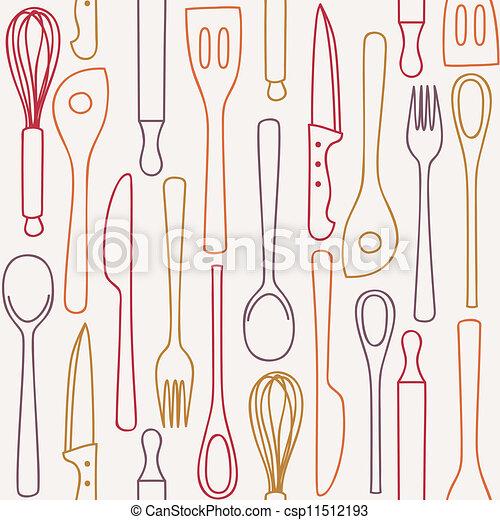Eps vectores de patr n cocina seamless utensilios for Utensilios de cocina logo