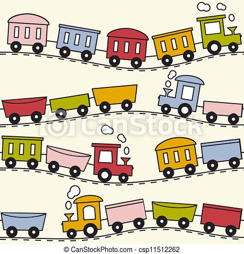 Train and rails - seamless pattern - csp11512262