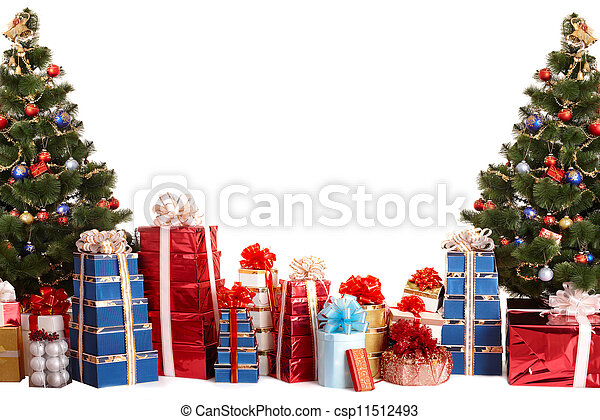 Christmas tree group,  gift box.  - csp11512493