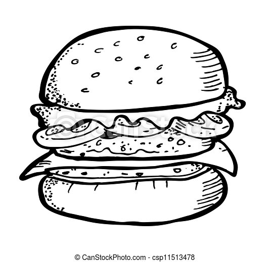Vector Illustratie Van Hamburger Doodle Csp11513478