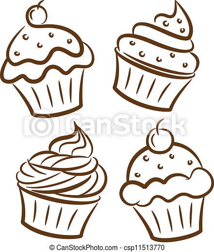 Ilustraciones Vectoriales De Garabato Estilo Cupcake