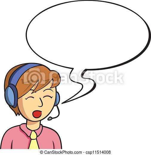 Speaking English Clipart Female operator speaking -