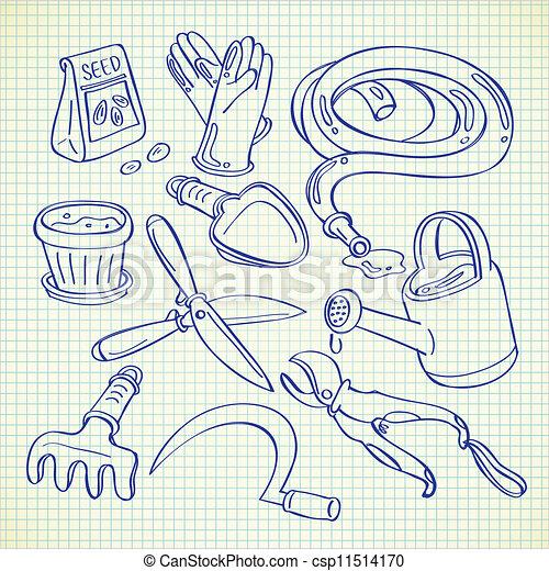 Vectors illustration of gardening tools csp11514170 for Gardening tools drawing
