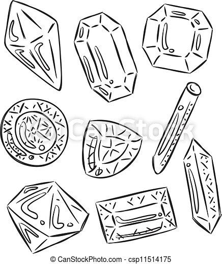 Ilustraciones vectoriales de garabato piedras preciosas - Dibujos de piedras ...
