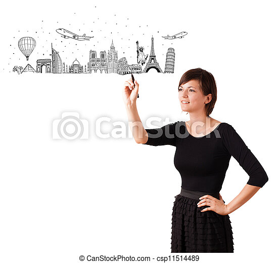Young woman drawing famous cities and landmarks on whiteboard - csp11514489