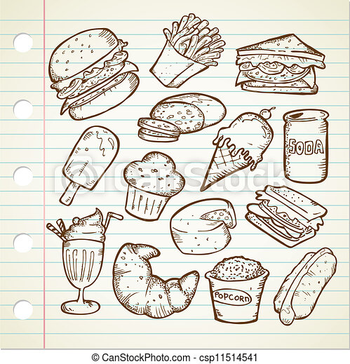 Unhealthy Foods Drawing Junk Food Doodle Drawing