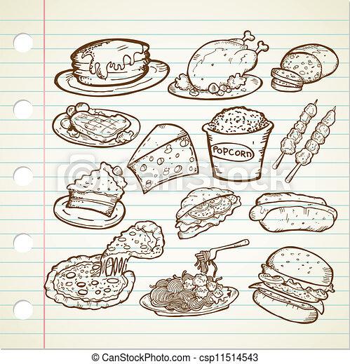 Unhealthy Foods Drawing Vector Junk Food Doodle