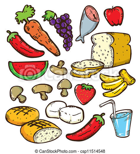 Healthy Foods Clipart Vector - set of healthy food
