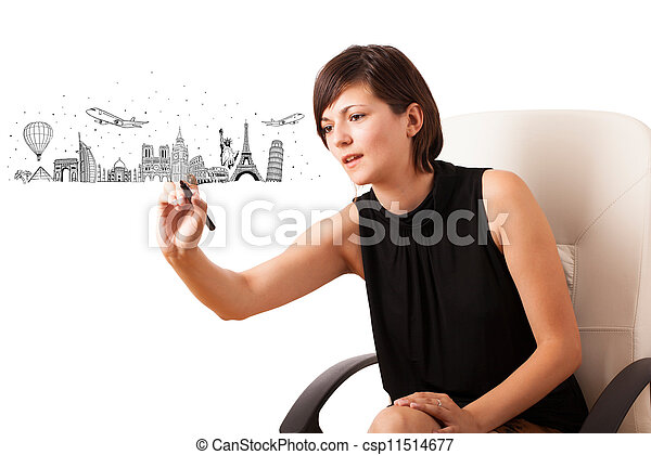 Young woman drawing famous cities and landmarks on whiteboard - csp11514677