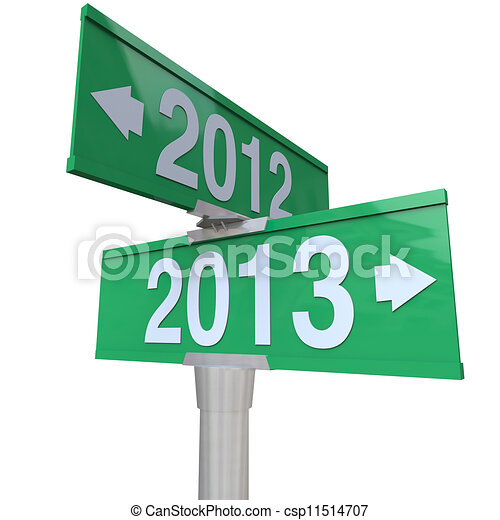 2012 Year Changing to 2013 Green Two-Way Road SIgns - csp11514707