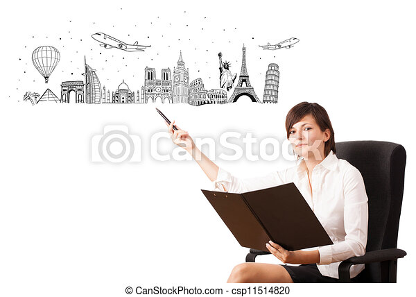 Young woman presenting famous cities and landmarks - csp11514820