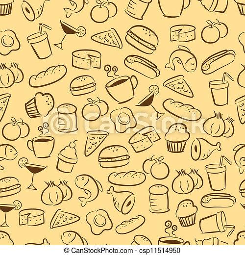 矢量-seamless, 食物,