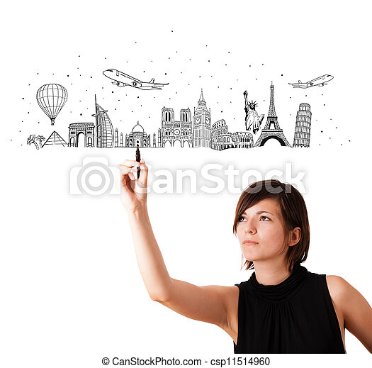 Young woman drawing famous cities and landmarks on whiteboard - csp11514960
