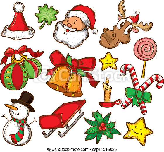 Vector - set of colorful christmas stuff - stock illustration, royalty ...