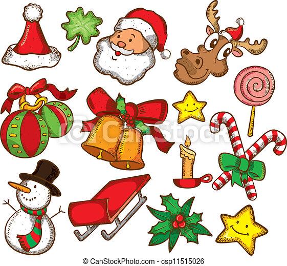 set of colorful christmas stuff .