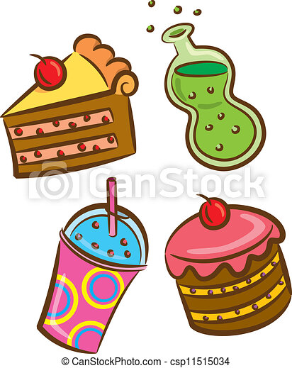 Vectors of colorful food and beverage icon - set of ...  Vectors of colo...