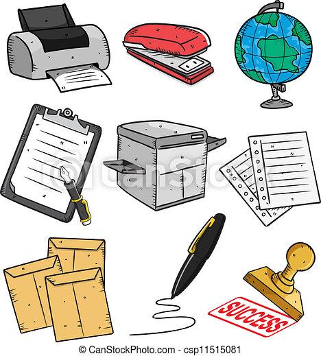 Vector de conjunto oficina llenar caricatura icono for Imagenes de articulos de oficina
