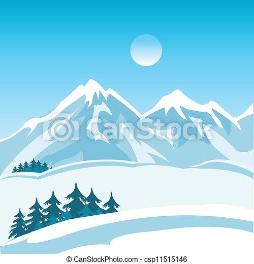 vecteur eps de montagne hiver illustration de les montagne paysage csp11515146. Black Bedroom Furniture Sets. Home Design Ideas