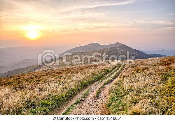 Sunset in carpathian mountains - csp11516051