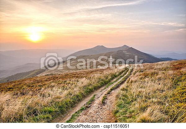 Sunset in carpathian mountains - csp11516051