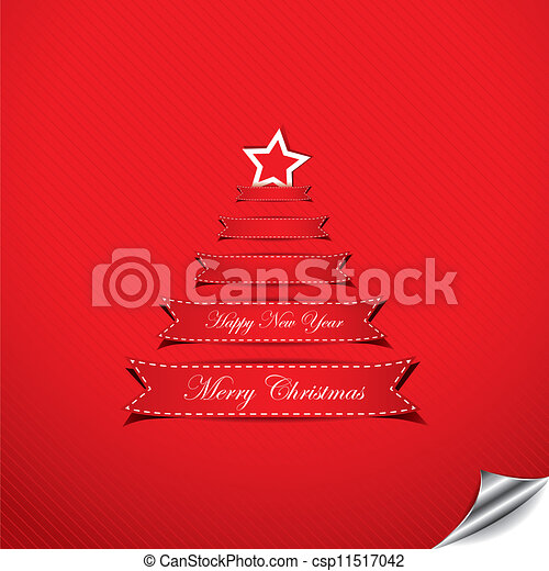 Christmas background with text place in form of Christmas tree - csp11517042