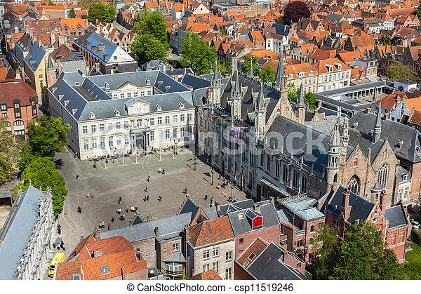 Aerial view of Bruges (Brugge), Belgium - csp11519246