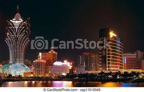 Macao cityscape with famous landmark of casino skyscraper and bridge - csp11519343