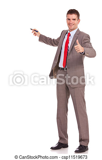 business man presenting and thumbs up - csp11519673