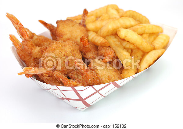Shrimp and French Fries - csp1152102
