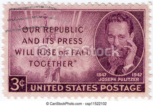USA 1947 : stamp printed in USA showing Joseph Pulitzer, circa 1947