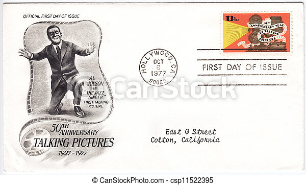 USA - CIRCA 1977: Envelope and stamp printed in USA of 50th Anniversary Year of Talking Pictures with Al Jolson in The Jazz Singer film, circa 1977