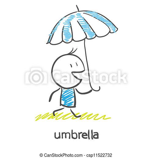 A man under an umbrella - csp11522732
