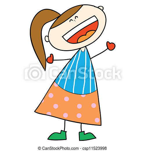 Girl Laughing Drawing Happy Girl Cartoon Laughing