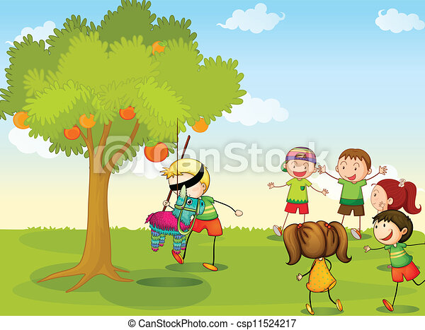 Vector Clip Art of kids playing in nature - illustration of kids ...