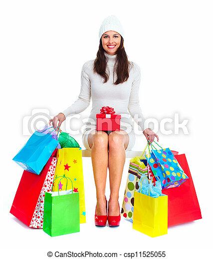 Beautiful Christmas Shopping woman. - csp11525055