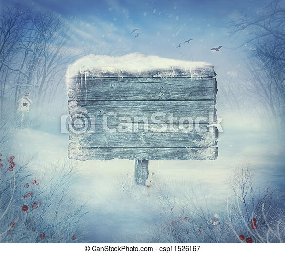 Winter design - Christmas valley with sign - csp11526167
