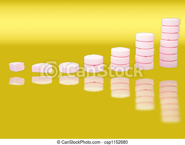 Ladder from pharmaceutical drugs with reflectons over gradient background - csp1152680